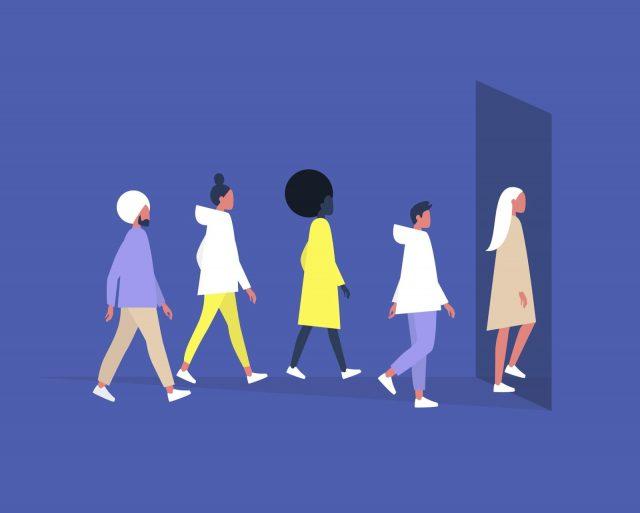 Illustration d'un groupe de personne diverse rentrant dans une pièce