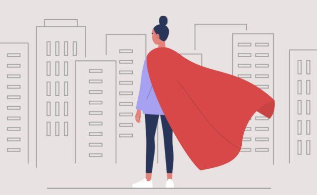 Illustration d'une femme avec une cape rouge