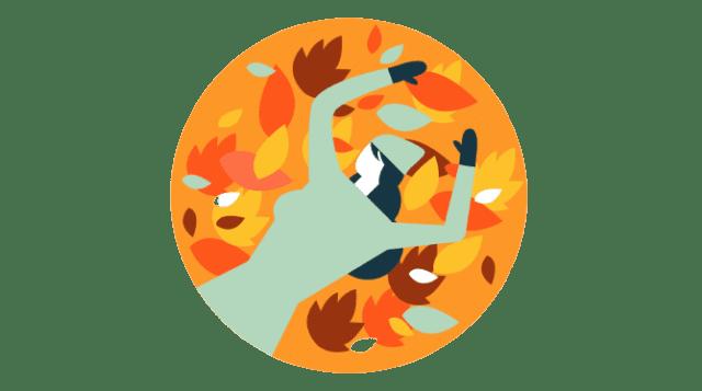 Illustration d'une femme allongée sur des feuilles en automne